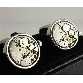 Round Watch Mechanism Working Parts Cufflinks