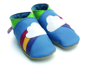 Starchild Leather Baby Shoes Rainbow Blue - babies' slippers