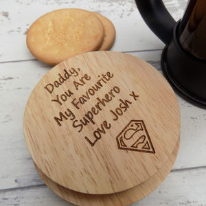 Personalised Superhero Dad Wooden Coaster - kitchen