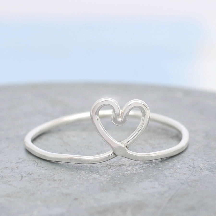 Love Silvers: Silver Love Heart Knot Ring By Louy Magroos