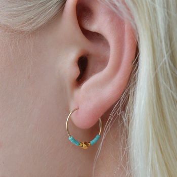Gold Nugget Hoop Earring