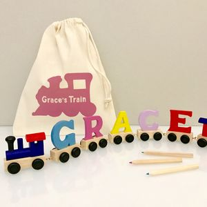 Personalised Coloured Wooden Name Train And Gift Bag - keepsakes