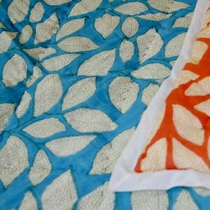 Arctic Coral Block Printed Double King Cotton Quilt
