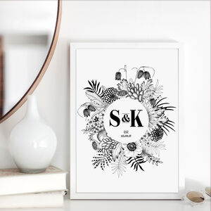 Monochrome Botanical Wedding Day Anniversary Print