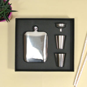 Silver Hip Flask Set With Personalised Leather Sleeve - womens