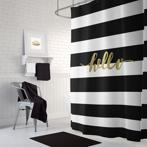 Black And Gold Fabric Shower Curtain - bathroom