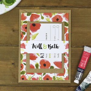 Poppies Floral Wedding Invitation Bundle - invitations