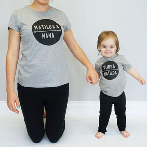 Personalised Mama And Bubba T Shirt Set - parent and child sets