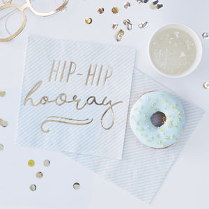 Blue Striped Gold Foiled Hip Hip Hooray Paper Napkins