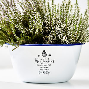 Enamel Planter Personalised Teacher Gift