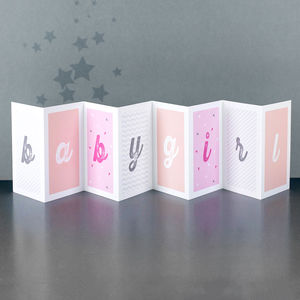 New Baby Girl Concertina Card