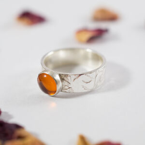 Amber Ring In Recycled Silver