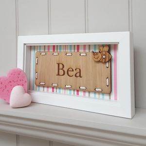 Personalised Baby Girl's Name Oak Artwork