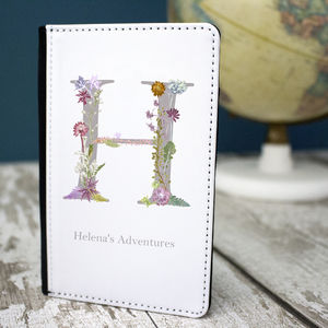 Personalised Passport Holder With Botanical Lettering - gifts for her