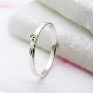 Personalised Silver Ring With Diamond - rings