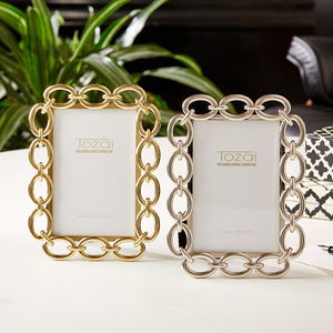 Chain Link Detail Photo Frame In Gold Or Silver