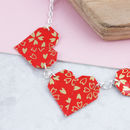 Origami Red Hearts Necklace