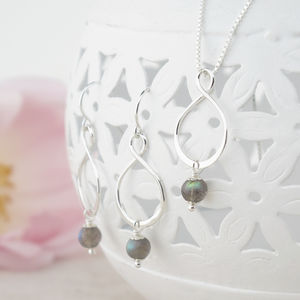 Aida Labradorite Pendant And Earring Set - necklaces & pendants