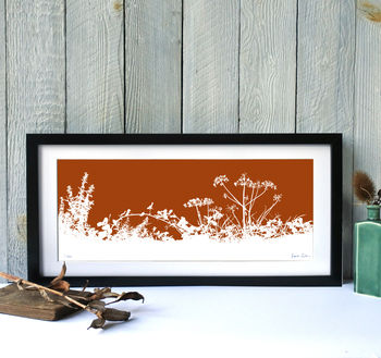 White silhouette, Rust background, Black frame
