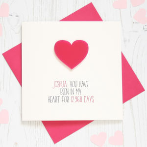 Personalised 'Heart' No Of Days Card