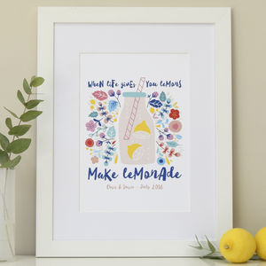Personalised Make Lemonade Gift Print