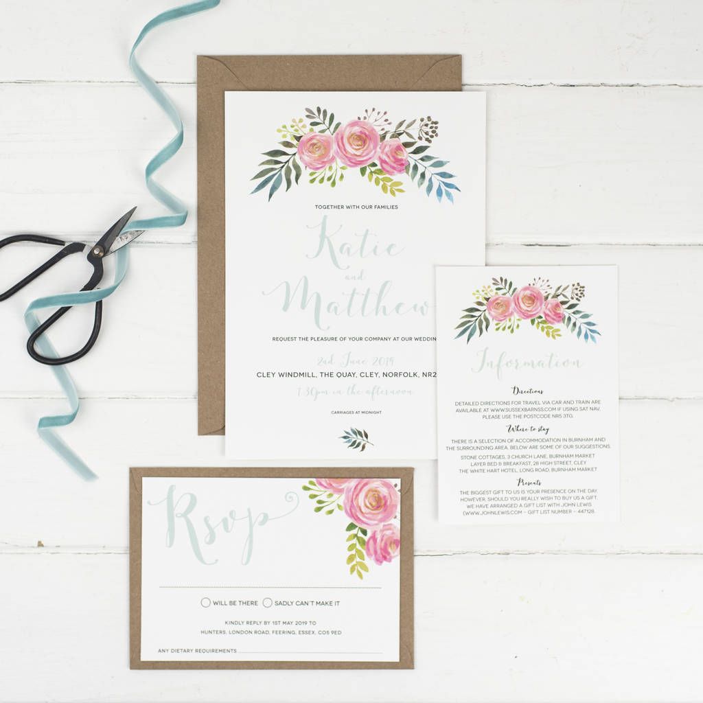 floral wedding invitation by russet and gray | notonthehighstreet.com