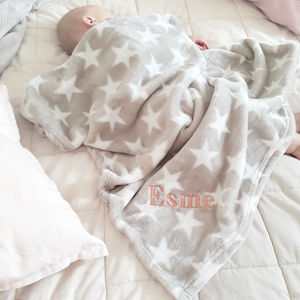 Personalised Mink Star Fleece Blanket - gifts for babies