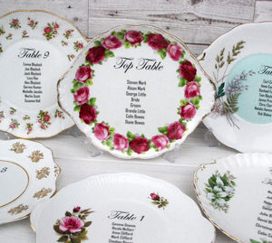 Personalised Table Plan Vintage China Plates
