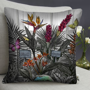 Glasshouse Monochrome Tropical Cushion