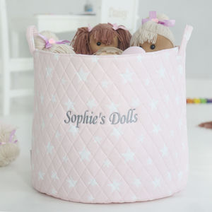 Personalised Pink Star Storage Bag - baby's room