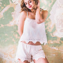 Light Pink Embroidered Camisole And Short Set