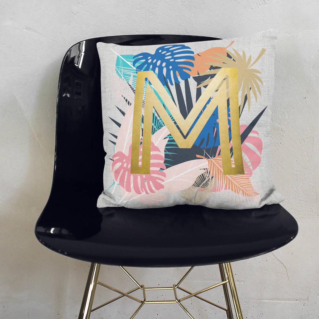 Personalised Floral Metallic Cushion