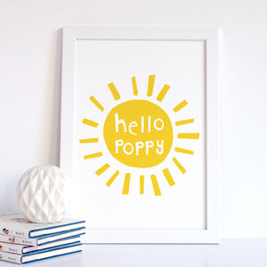 Personalised New Baby Print, Hello Sunshine - nursery pictures & prints