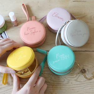 Personalised Mini Round Travel Jewellery Case - gifts for grandmothers