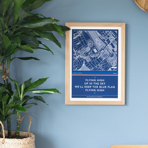 Football Stadium Map And Favourite Chant Print