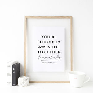 Personalised Awesome Anniversary Wedding Print - 1st anniversary: paper