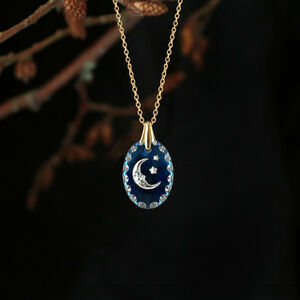 Vintage Glass Moon And Star Pendant Sterling Silver