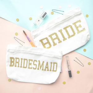 Bride Or Bridesmaid Glitter Cosmetic Bag
