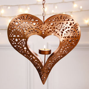 Hanging Heart Copper Tealight Holder - lighting