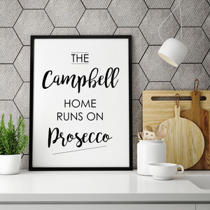 Personalised Family Name Prosecco Print