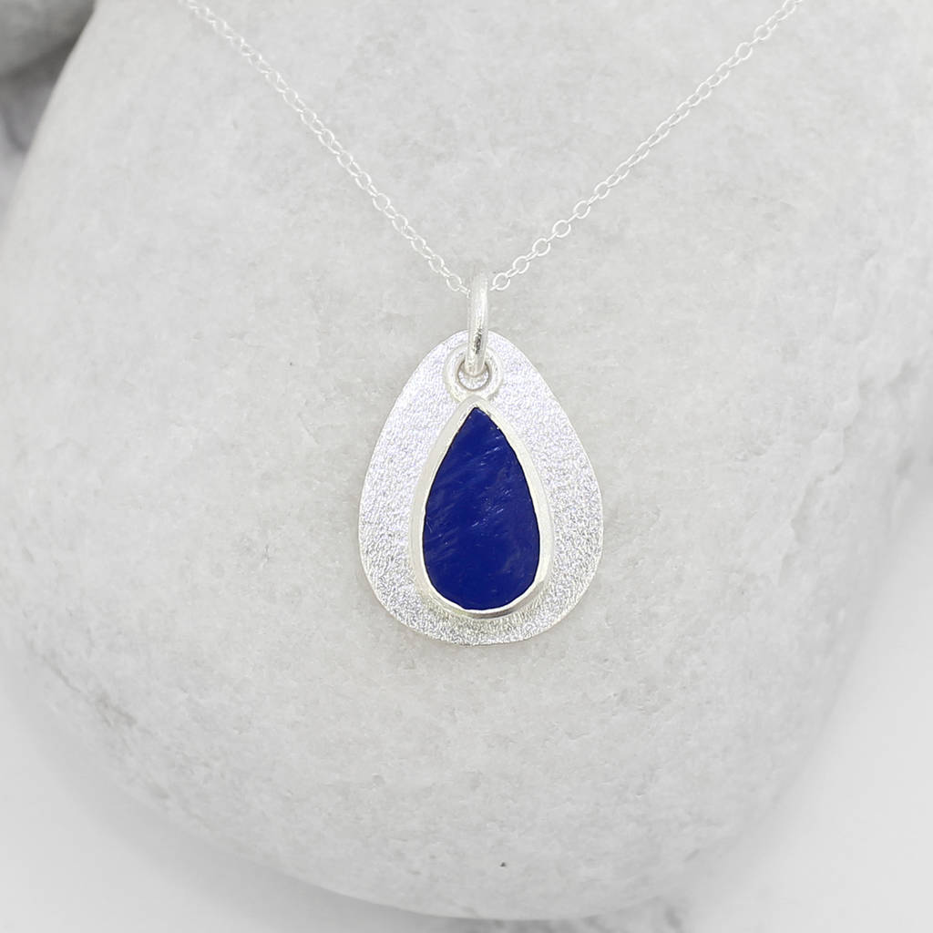 Coastal Lapis Lazuli Gemstone Pebble Pendant Necklace