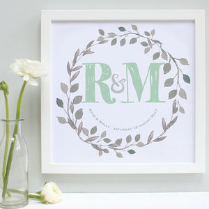 Personalised Botanical Wedding Framed Print - posters & prints