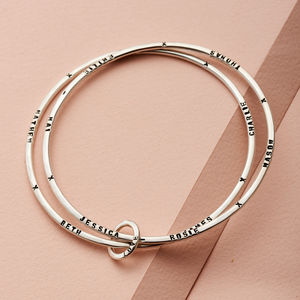 Personalised Double Bangle - 25th anniversary: silver