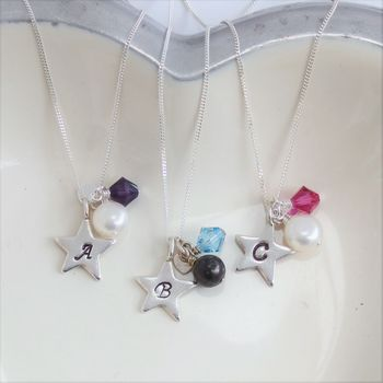 Personalised Pearl And Silver Star Necklace