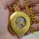 Gold Personalised Pocket Watch With Roman Numerals