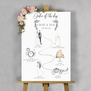 Illustrated Wedding 'Order Of The Day' Sign - order of service & programs