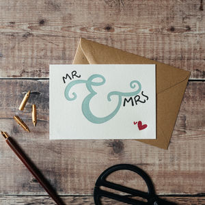Mr And Mrs Letterpress Wedding Card
