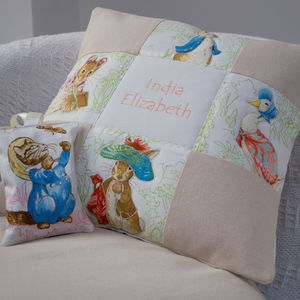 Beatrix Potter© Patchwork Name Cushion - bedroom