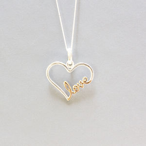 Two Tone Sterling Silver Love Necklace