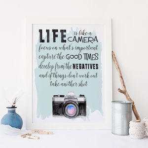 'Life Is Like A Camera' Typographic Print - posters & prints